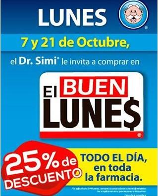 El Buen Lunes en Farmacias Similares: 25% de descuento en toda la farmacia