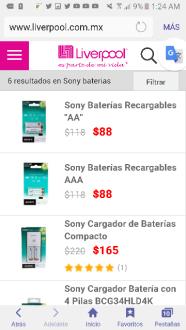 Liverpool: baterias recargables y cargador Sony