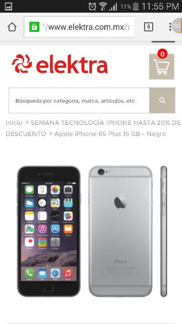 Elektra en linea: DÍAS ROJOS iPhone 6S Plus 16GB a 12,999 + Envío Gratis