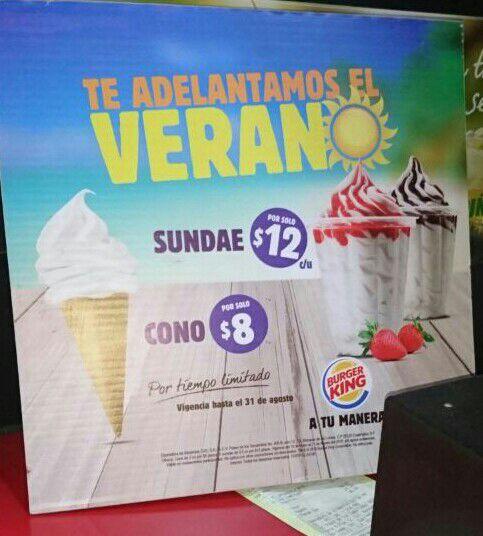 Burger King: Sundae de fresa o chocolate