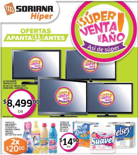 Folleto Soriana: 2x1 en cepillos, ofertas en toallas femeninas, detergentes, jugos, pantallas LED y más