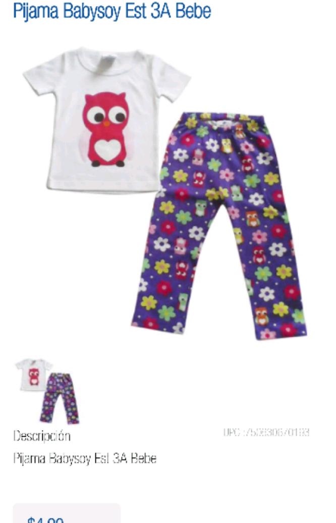 Chedraui Cuernavaca Flores Magón en línea: Pijama para niña de 1 a 3 años a $4.90