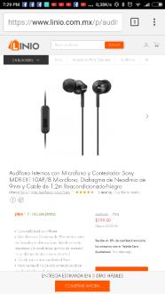 Linio: Audifonos Sony Mdr Ex110ap $199 $99 con cupon
