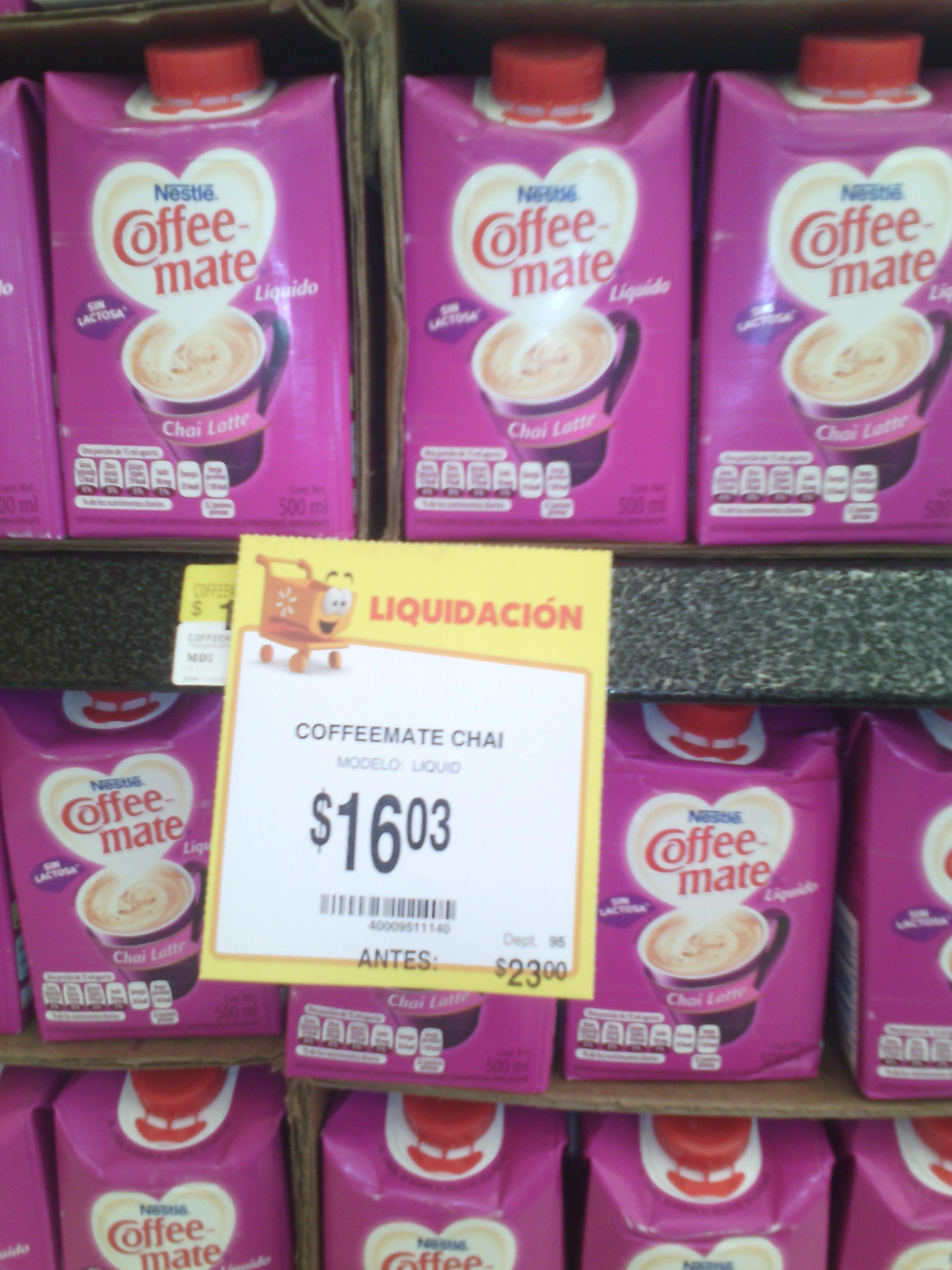 Walmart B. Quintana Queretaro: Coffee Mate Chai a $16.03