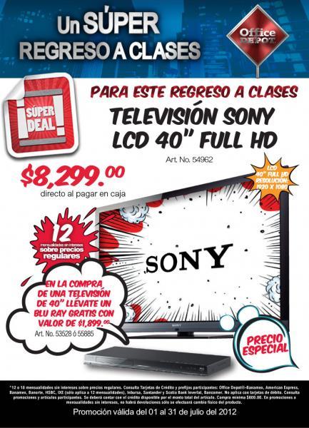 Office Depot: Blu-ray gratis en la compra de pantalla Sony y más
