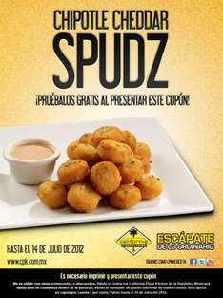 California Pizza Kitchen: Chipotle Cheddar Spudz gratis con cupón
