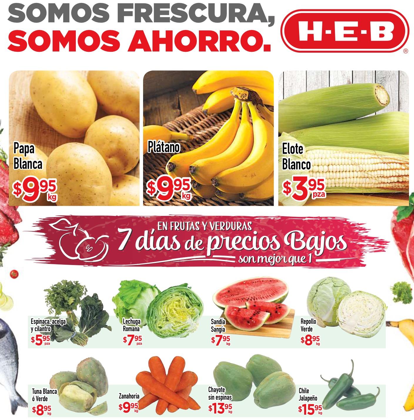 HEB: ofertas de frutas y verduras en HEB del 6 al 8 de septiembre