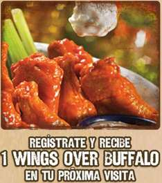 Chili's: wings gratis al registrarte online