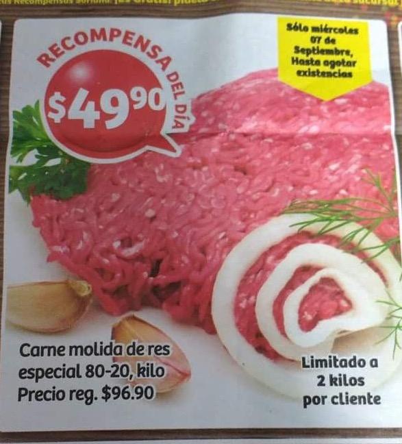 Soriana Hiper y Super, recompensa del día de hoy carne molida 80/20