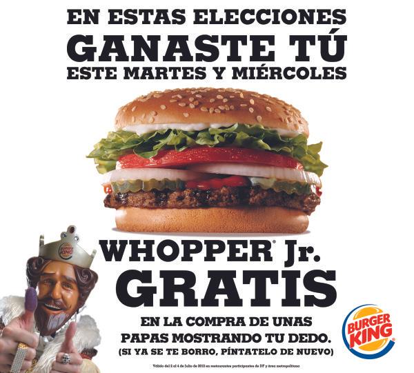 Burger King: Whopper Jr gratis en la compra de unas papas mostrando tu dedo con tinta