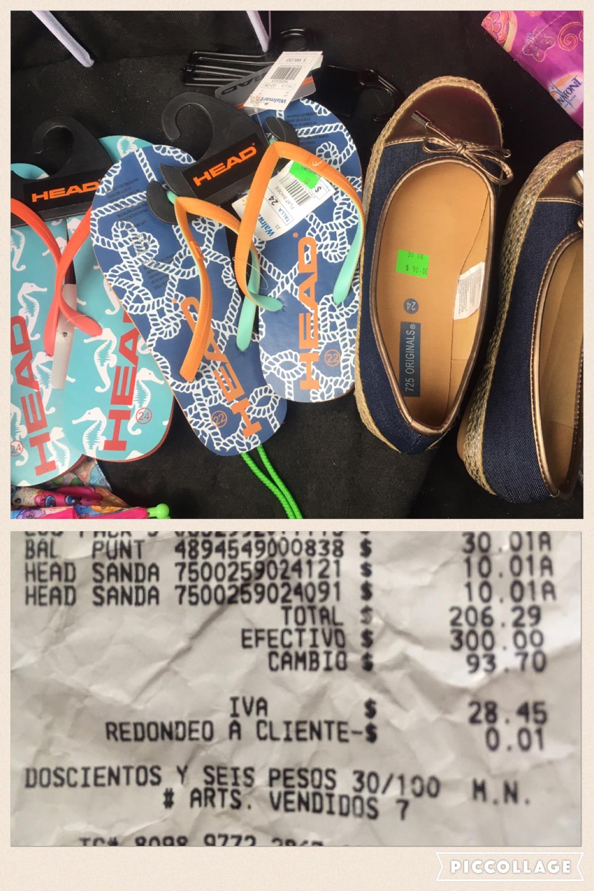 Walmart Terminal Toluca: liquidacion chanclas y zapatos dama