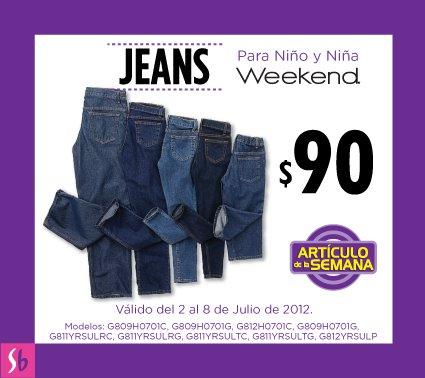 Artículo de la semana en Suburbia: jeans para niño y niña a $90