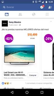 "Sony Store: pantalla Led Smart Sony 48"" con Wi-Fi W65D a $10,500"