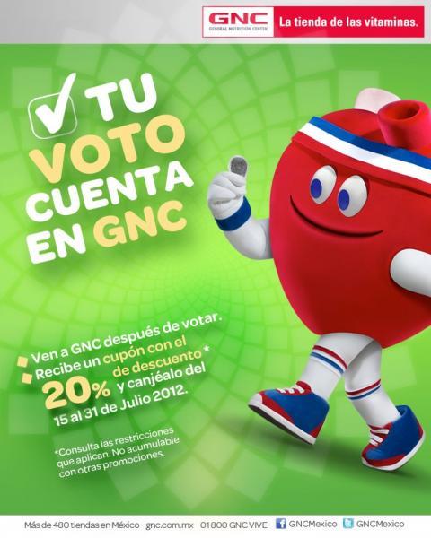 GNC: cupón de 20% de descuento si votas