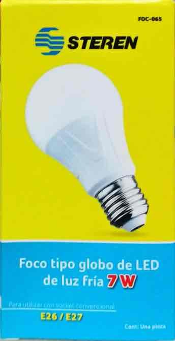 Steren: foco tipo globo led 7w luz fria