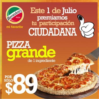 Benedettis: pizza grande a $89 después de votar el 1 de julio