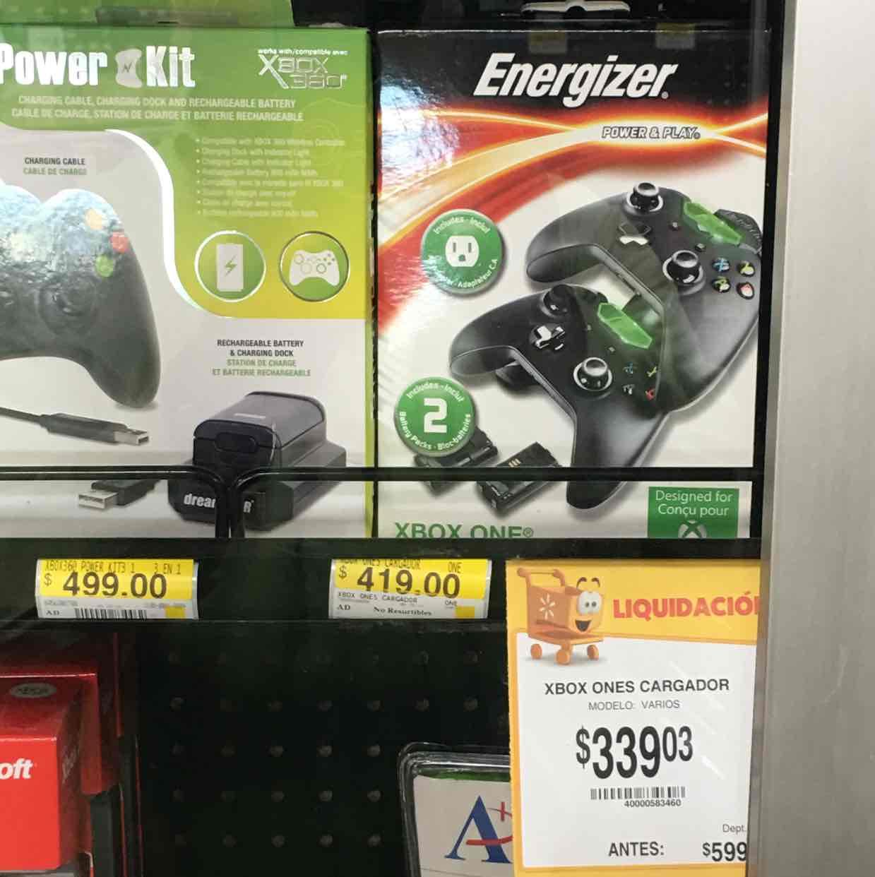 Walmart Patio Guaymas: cargadores Energizer para Xbox One a $339.03