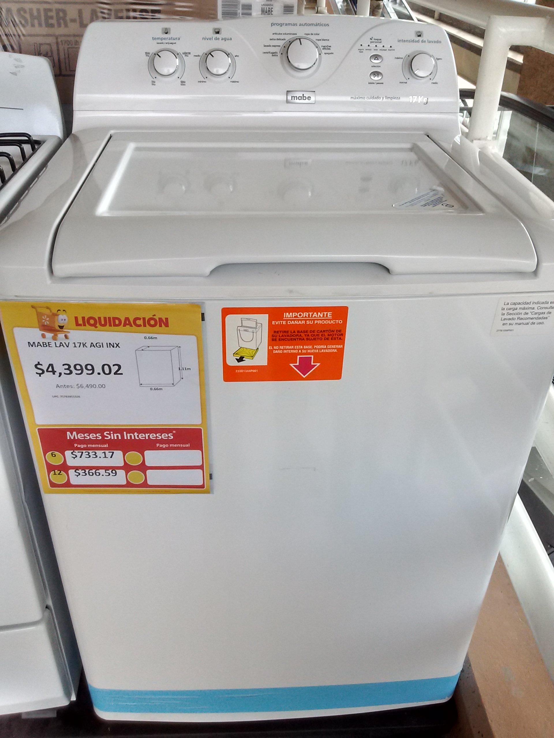 Walmart Chilpancingo: lavadora Mabe 17 kg segunda liquidación $4399