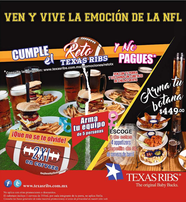 Texas Ribs: 2x1 en cerveza durante partidos de la NFL + Reto Texas Ribs
