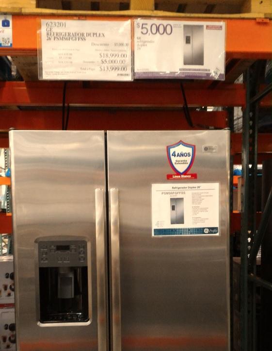 Costco: Refrigerador GE 26 pies, duplex.