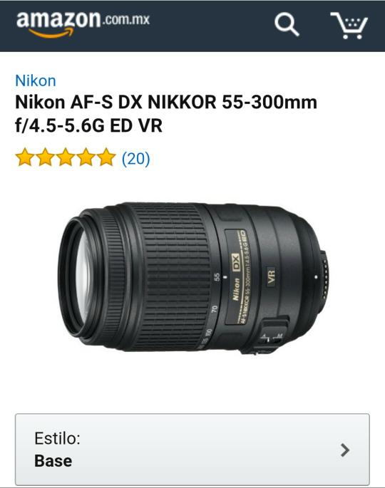 Amazon MX: Lente Nikon 55-300 a $4,799