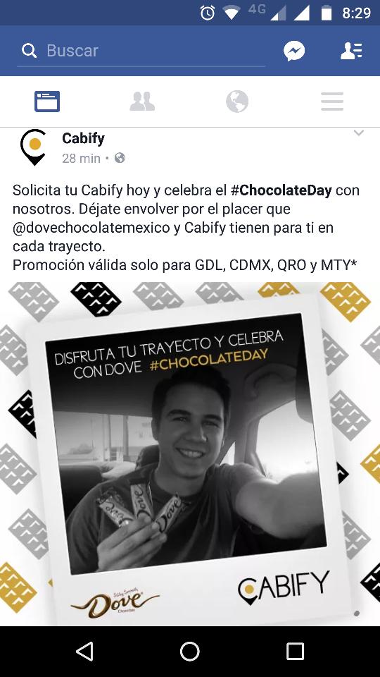 Cabify: chocolate Day, chocolate Dove gratis en cada viaje