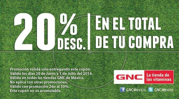GNC: cupón 20% de descuento