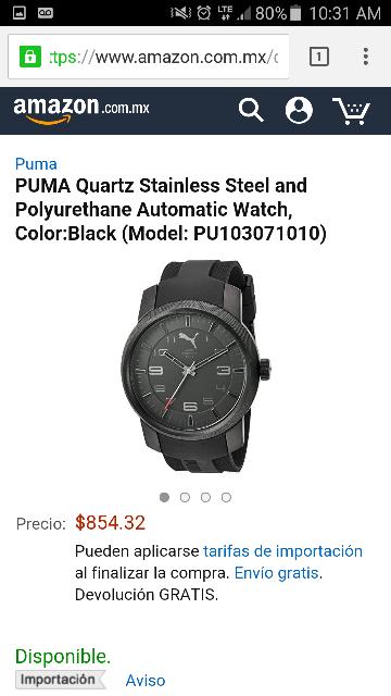 Amazon: Reloj Puma color negro modelo PU103071010