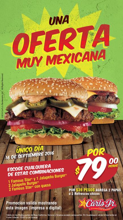 Carl's Jr: combos por $79 solo el 16-09-16 (Baja California, Sonora, Sinaloa y Guadalajara)