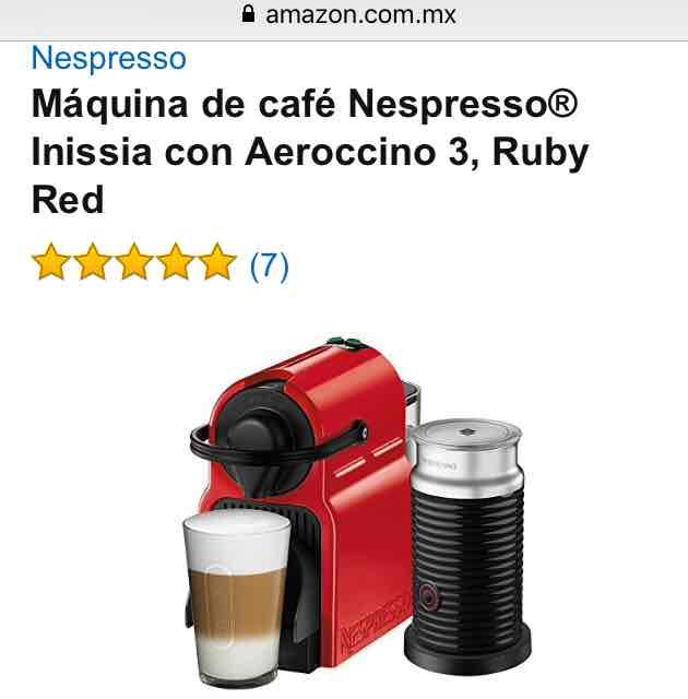 Amazon: Nespresso Inissia + Aeroccino por $1,812.00