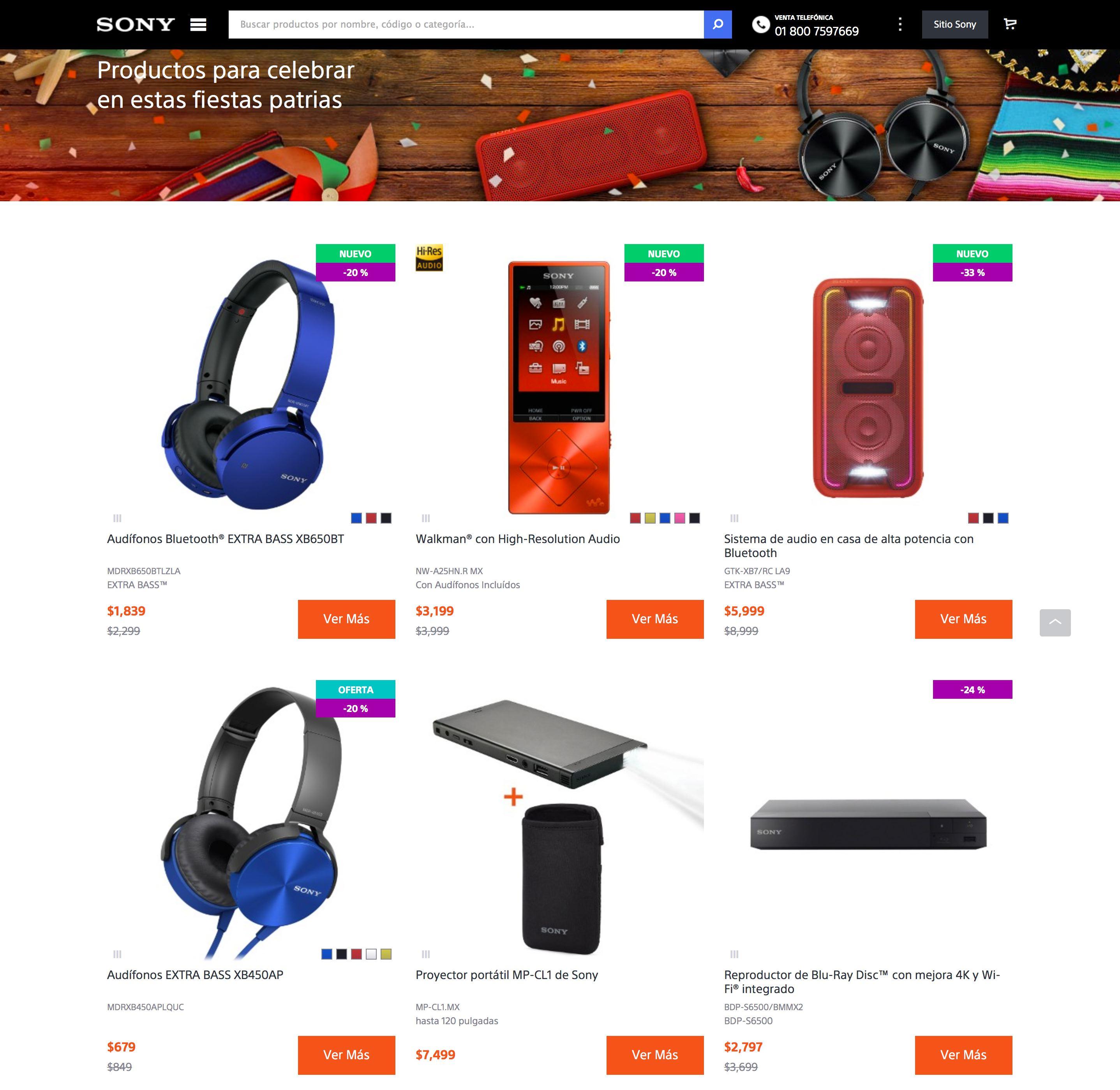 Sony Store Online Mexico: descuentos del 6% hasta el 50%