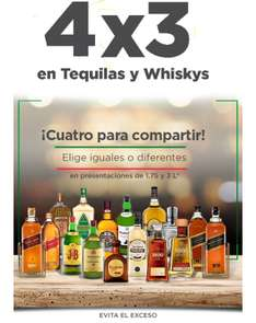 Sam's Club: 4 x 3 en tequilas y whiskys