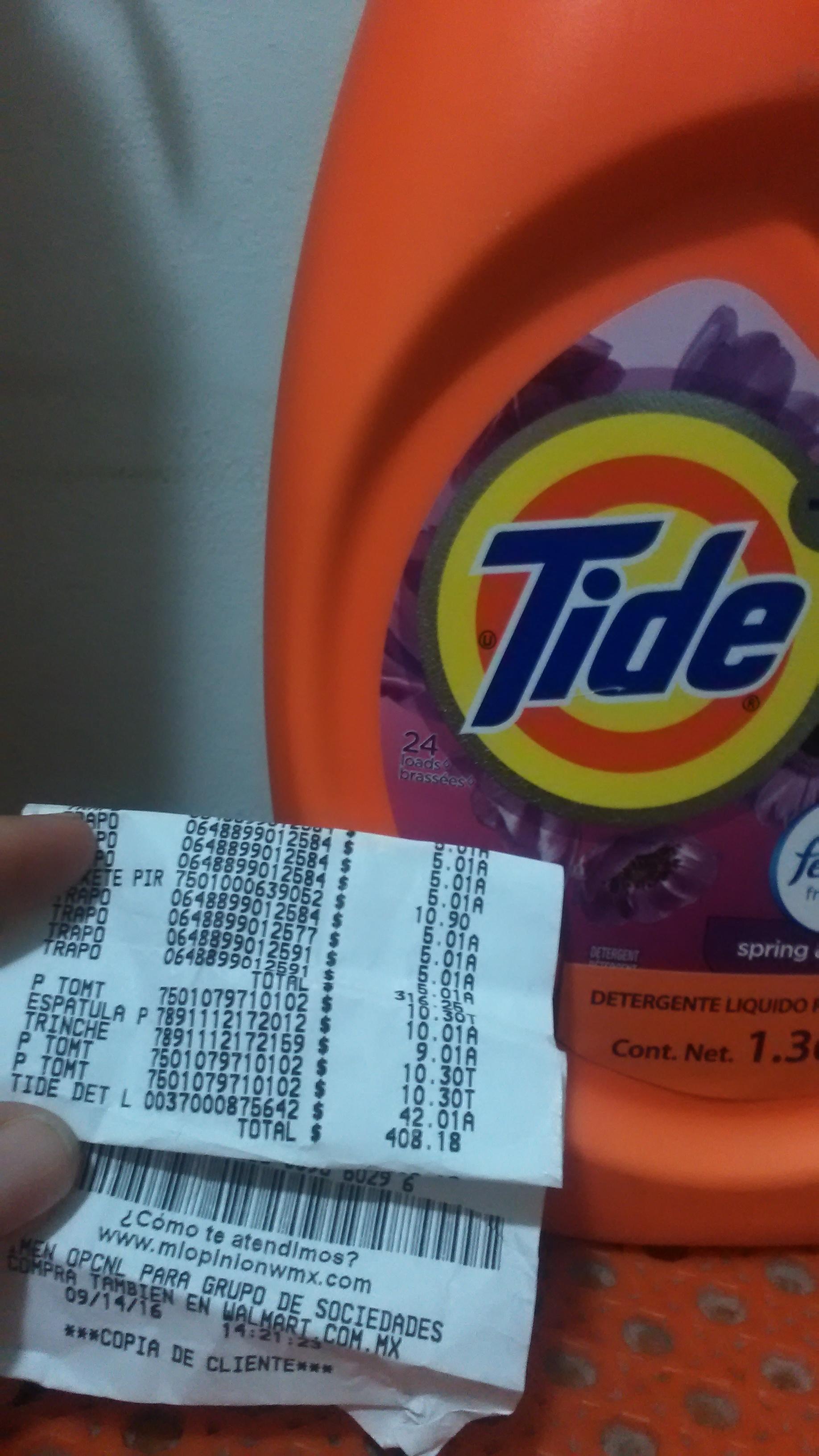 Walmart Cumbres: detergente Tide Febreze 1.36L en $42.01