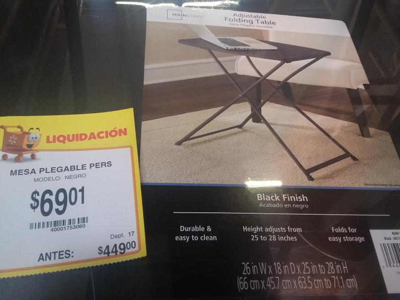 Walmart Santa Elena: Mesa Plegable a $69.01