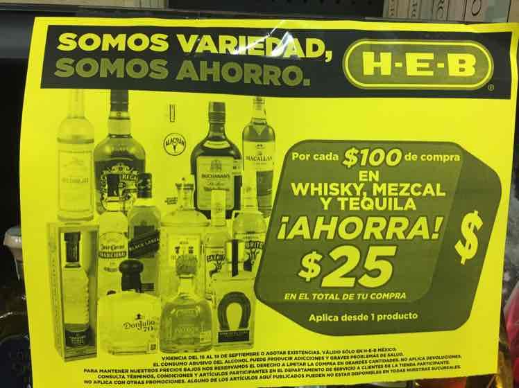 HEB: Whisky, tequila y mezcal $25 pesos de descuento por cada $100