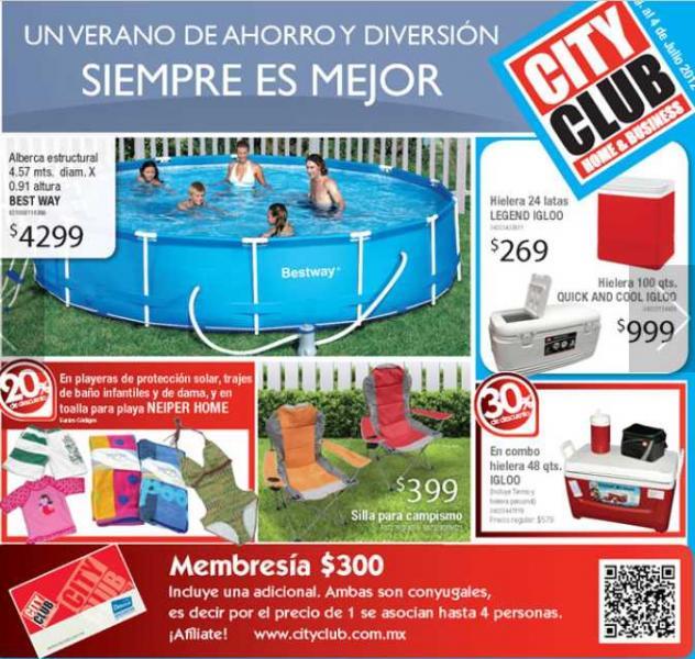 Chequera City Club junio 19: descuentos en trajes de baño, pantallas, ropa y más