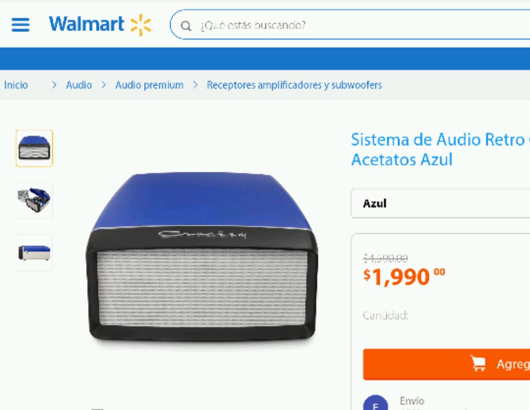 Walmart: Sistema de audio retro lector de acetatos entrada usb y almacenamiento