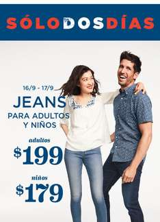 Old Navy: Jeans a 199 adulto y 179 niños