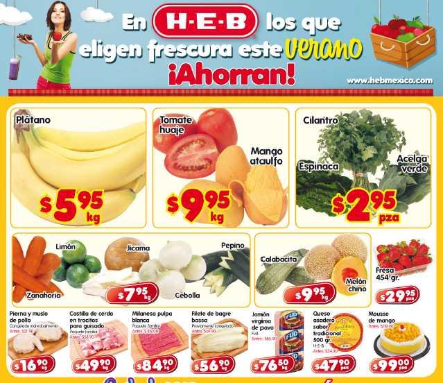 Frutas y verduras HEB: plátano $5.95, mango $9.95 y más