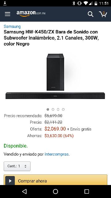 Amazon: Barra de sonido Samsung HW-K450/ZX a $2,069 (vendido por Intercompras)