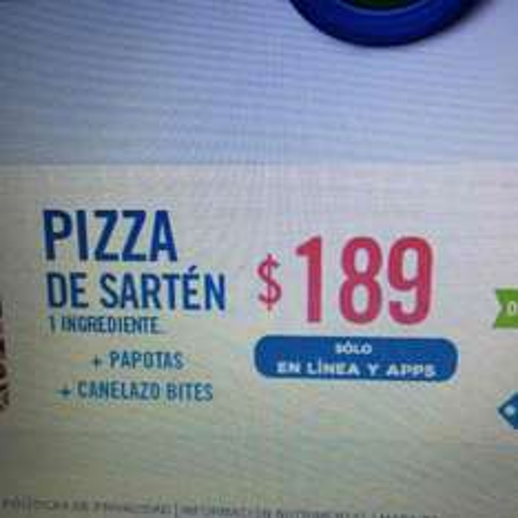 Domino's Pizza sartén grande+canelazos+papotas a $189