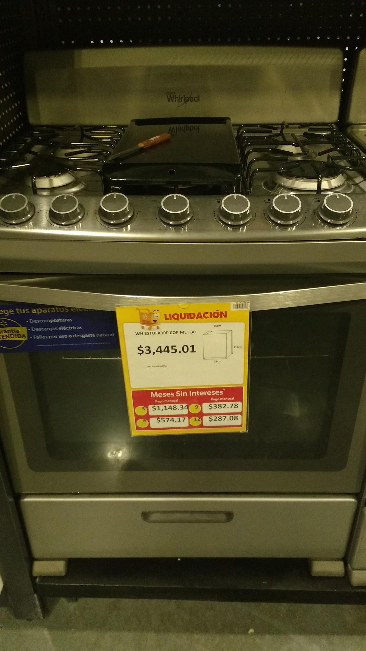 "Walmart Cuemanco: estufa Whirlpool 30"" de acero inoxidable a $3,455.01"