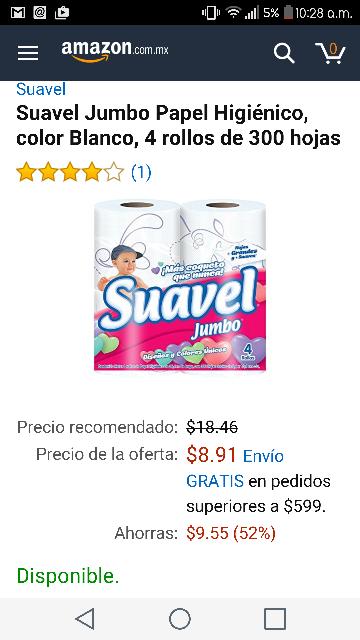 Amazon MX: Papel Higienico Suavel Jumbo 4 Rollos de 300 Hojas
