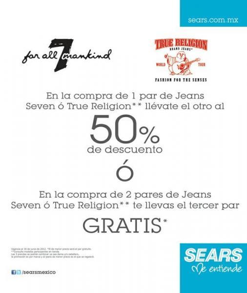 Sears: 3x2 ó 2 x 1 y medio en jeans True Religion, playeras Ed Hardy y más