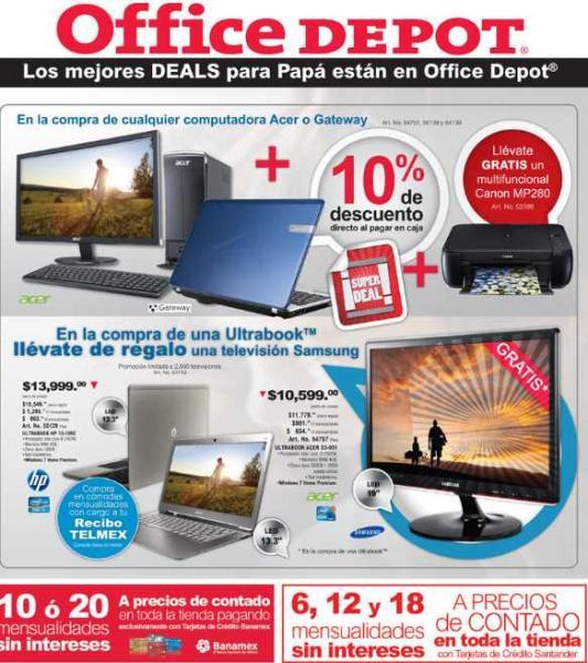 """Office Depot: Pantalla LED 19"""" gratis en la compra de Ultrabook, MSI a precio de contado y más"""