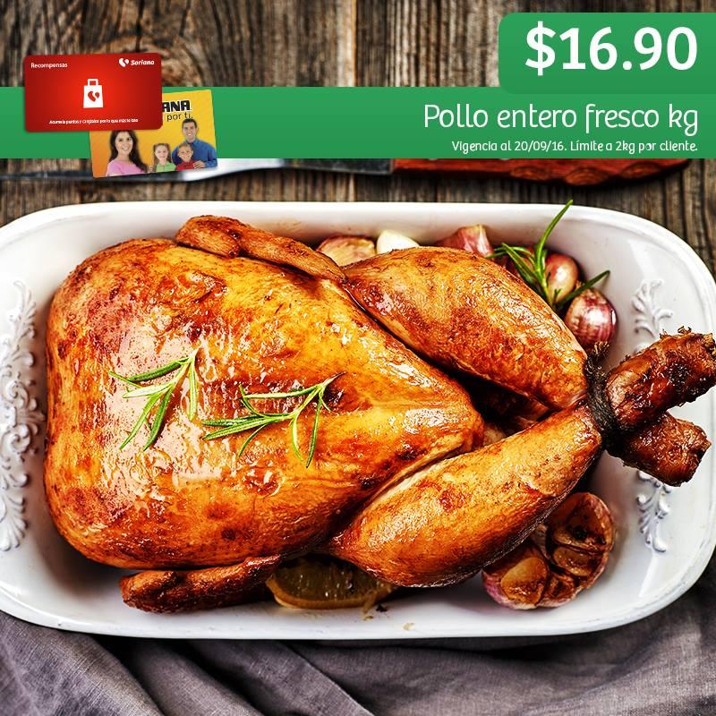 Soriana Híper y Súper: Recompensa Martes 20 Septiembre: Pollo Entero Fresco $16.90 kg.