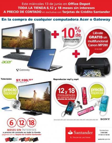 Office Depot: hasta 18 MSI a precio de contado en toda la tienda con Santander
