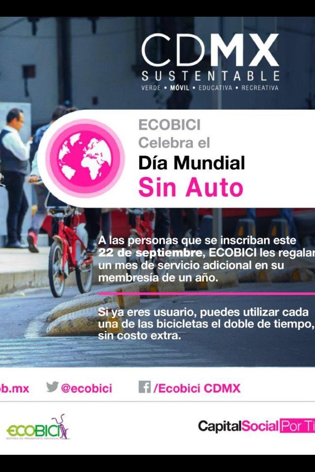 CDMX ECOBICI: 1 mes GRATIS de servicio inscribiéndote un año el 22 de septiembre