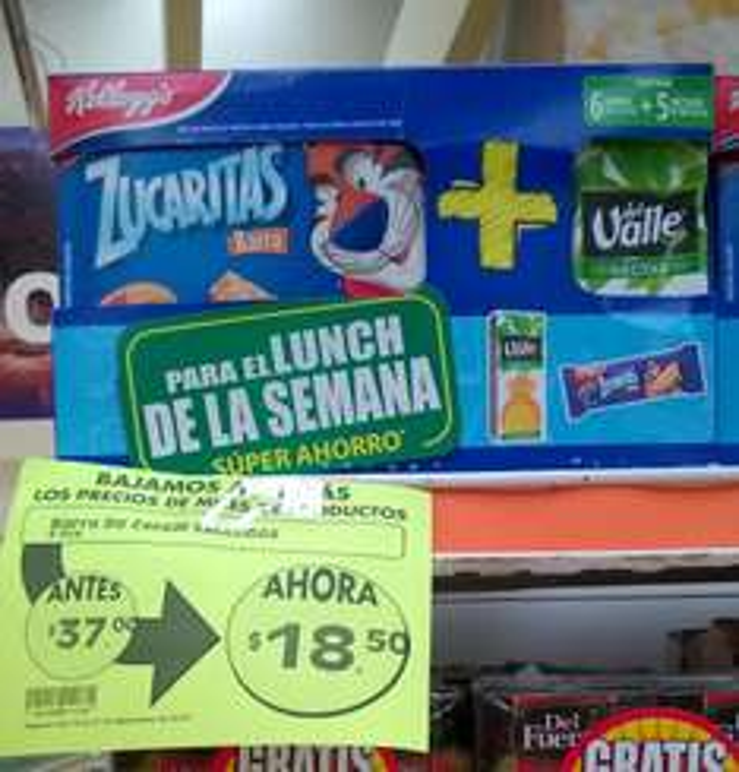 Comercial Mexicana Mega: Paquete barras Zucaritas + nectar del Valle a $18.50