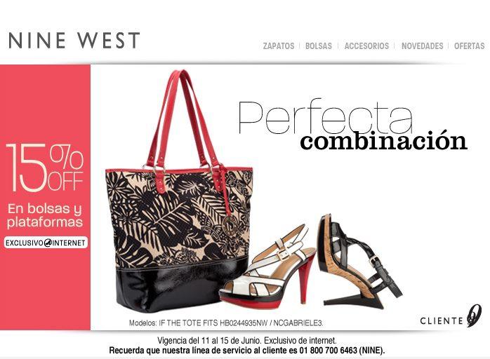 Nine West: 15% de descuento en bolsas y plataformas
